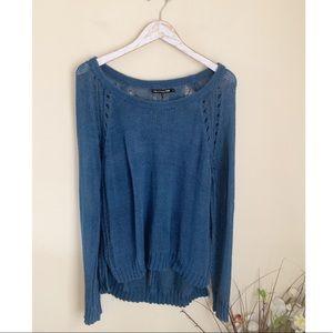 Rag & Bone Blue loose knit pullover sweater L